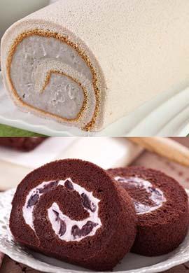 芋泥捲蛋糕1入+巧克力黑櫻桃捲1入 共2入免運